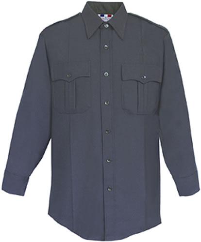 LAPD/CALFire Long Sleeve Shirt - Men's Navy 65/35 Polyester/Rayon Deluxe Tropical