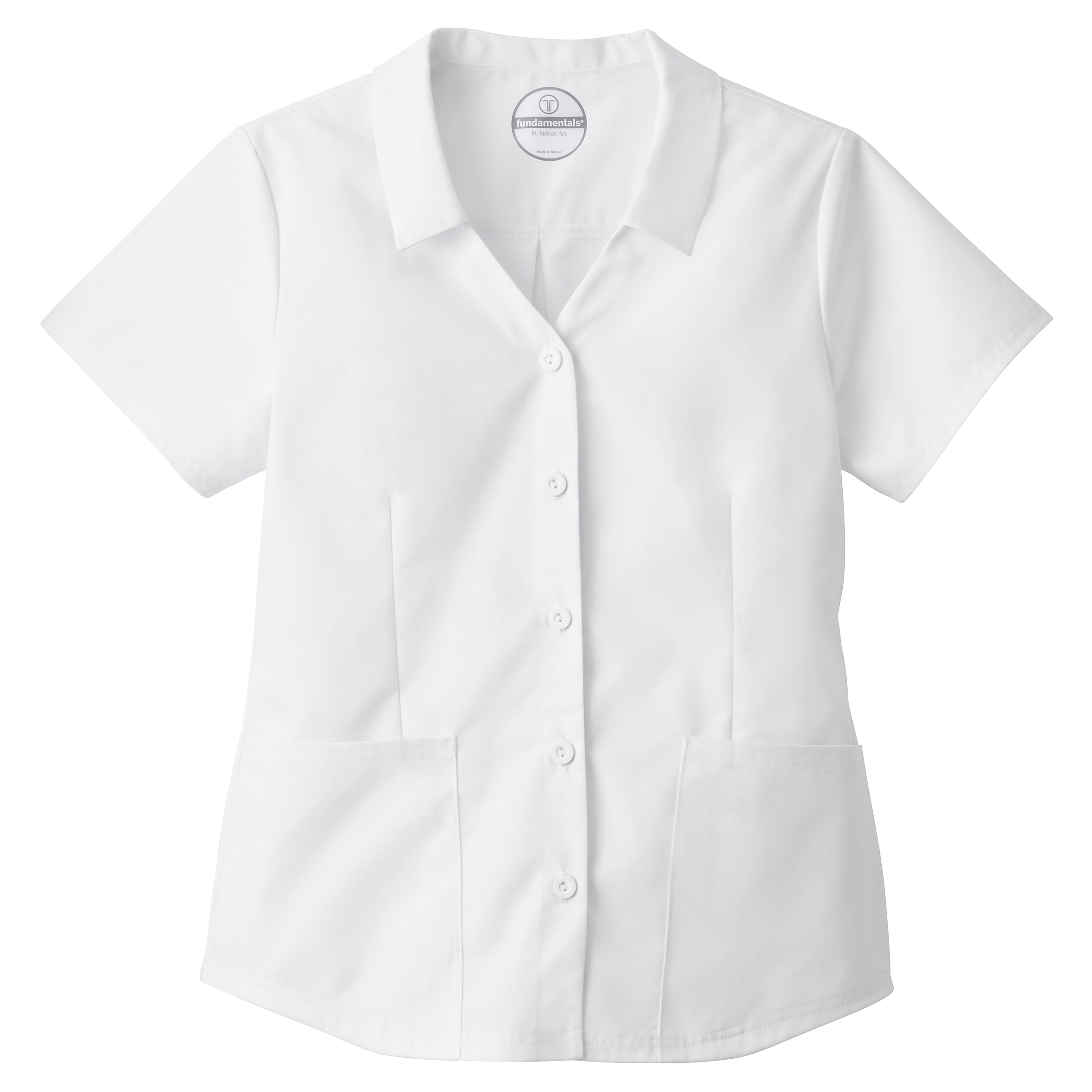 White Swan 14568 Fundamentals Ladies Collared Button Front Top