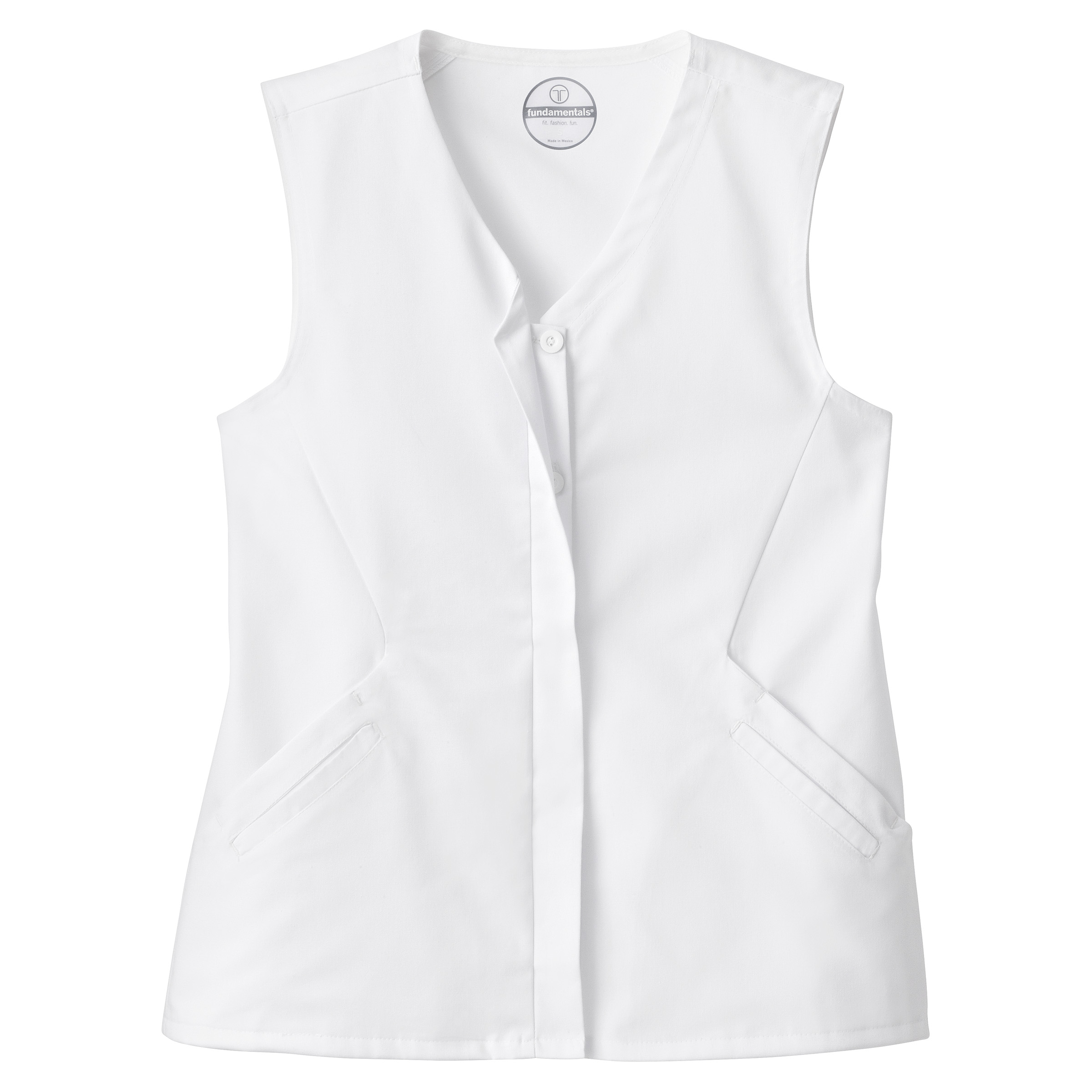 White Swan 14752 Fundamentals Ladies Hidden Placket Button Front Vest