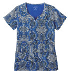 White Swan 2343 Jockey Classic Ladies Print Split Neck Top