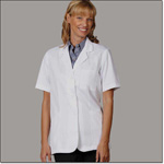Superior Uniform Group 105 Ladies White 65/35 FLT Pharmacy SS Coat