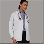 Superior Uniform Group 125 Ladies White 65/35 Fineline Twill Lab Jacket