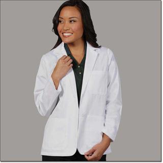 Superior Uniform Group 128 Ladies White 65/35 Fineline Twill Conslt Lab Jacket