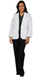 Superior Uniform Group 176 Ladies White 65/35 POP LS Lab Jacket