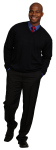 Superior Uniform Group 24946 Mens Navy Acrylic Fine LS V-Neck Sweater