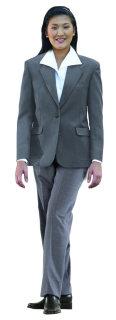 Superior Uniform Group 28474 Ladies Heather Grey Poly 2-Btn Blazer