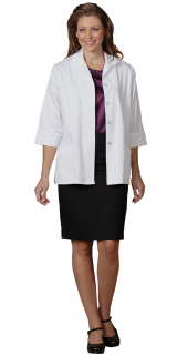 Superior Uniform Group 3421 Ladies White 65/35 FLT Lab Jacket