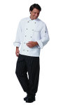 Superior Uniform Group 40010 Uni Wht 100C LS Chef Coat/BlkTrim/10Stud