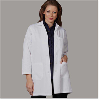 Superior Uniform Group 436 Ladies White 65/35 Fineline Twill Lab Coat Sk