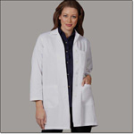 Superior Uniform Group 436 Ladies White 65/35 FLT Lab Coat SK