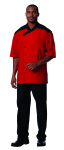 Superior Uniform Group 60111 Unisex Red SS Chef Shirt/Blk Trim