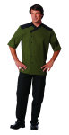 Superior Uniform Group 60113 Unisex Olive SS Chef Shirt/Blk Trim