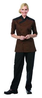 Superior Uniform Group 60114 Unisex Brown SS Chef Shirt/Blk Trim