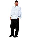 Superior Uniform Group 60125 Uni Wht FLT LS Chef Coat/Blk Trim/10Btns