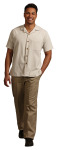Superior Uniform Group 61110 Mens Tan Microcheck Camp Shirt