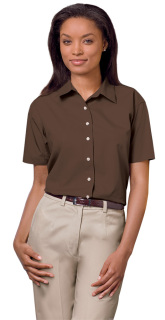 Superior Uniform Group 62007 391/BG6216S F Chocolate P/C POP SS Shirt