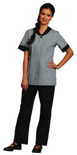 Superior Uniform Group 62223 Ladies Blk/Wht Houndstooth Zip Frt Tunic