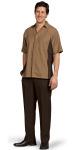 Superior Uniform Group 62232 Mens Nutmeg RecPoly Panel Camp Shirt