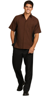 Superior Uniform Group 62233 Mens Sable Brown RecPoly Panel Camp Shrt