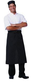 Superior Uniform Group 63586 Blk/Wht Pencil Stripe P/C Bistro Apron