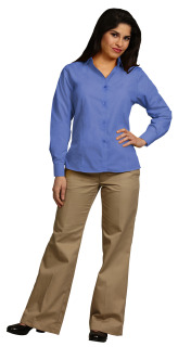 Superior Uniform Group 64709 Ladies Fr Blue Dressy POP LS Econo Shirt