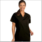 Superior Uniform Group 6601 Unisex FP Black Reversible Scrub Shirt