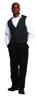 Superior Uniform Group 66109 Mens Black/White Stripe Vest