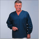Superior Uniform Group 6689 Unisex FB Navy Long Sleeves Scrub Shirt