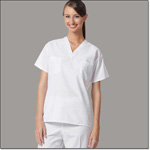 Superior Uniform Group 6784 Unisex FB White Reversible Scrub Shirt Set