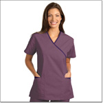 Superior Uniform Group 7006 Ladies FP Plum/Eggplant Trim Crossover Tunic