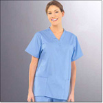 Superior Uniform Group 7347 Ladies FP Ciel Blue V-neck Tunic