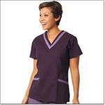 Superior Uniform Group 7576 Ladies Eggplant/plum FP Double V-neck Tunic
