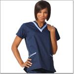 Superior Uniform Group 7578 Ladies Navy/ciel FP Double V-neck Tunic