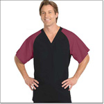 Superior Uniform Group 78769 Unisex FP Black/Burgundy Raglan Sleeve Scrub Shirt