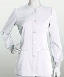Barco 3414 Junior 3 Pocket Round Neck Button Front Warm Up W/ Fitted Back