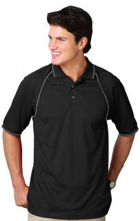 Blue Generation BG7220 Mens Wicking Contrast Piping Polo