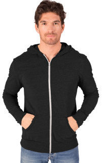 Blue Generation BG7308 Adult Triblend Contrast Zip Front Hoodie