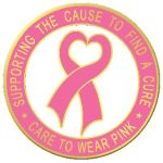 "Blackinton Insignia and Recognition J-283 15/16"" Heart Ribbon With Supporting The CaUSe To Find A Cure & Care To Wear Pink"