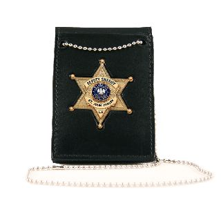 Boston Leather 450DX Deluxe Neck Chain, Badge/Id, Pin-In w/ Pouches