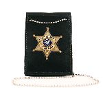 Boston Leather 450 Npb Neck Chain Holder With Custom Cut-Out And Hook & Loop Closure For Shirt Pocket Or Over Belt Use
