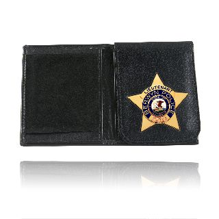 Boston Leather 575 Badge Wallet With Flip Up Badge Holder