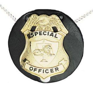 Boston Leather 5841C Round Badge Holder, Neck Chain, No Clip