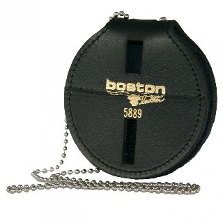 "Boston Leather 5889SDX 3"" Circle Badge Holder w/ Clip, Chain And Pouch"