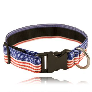 "Boston Leather 8150-5 1 1/2"" Red, White, Blue Nylon Collar (Adjusts 14""-22"" )"