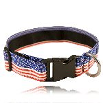 "Boston Leather 8150-5 1 1/2"" Red, White, Blue Nylon Collar (Adjusts 14""-22"" )"