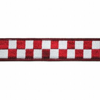 "Boston Leather 8159-5 1 1/2"" Red & White Nylon Collar (Adjusts 14""-22"")"