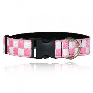 "Boston Leather 8161-5 1 1/2"" Pink & White Nylon Collar (Adjusts 14""-22"")"