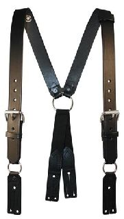 "Boston Leather 9175RXL Fireman""S Leather Suspenders (Button)(Reflective) (3"" Longer)"