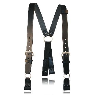 "Boston Leather 9177ABS Fireman""S Suspenders (Loop) w/ Abs Rectangular Ring To Loop"