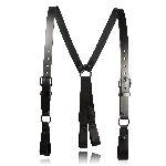 "1-1/4"" Police Leather Suspenders (All Black)"